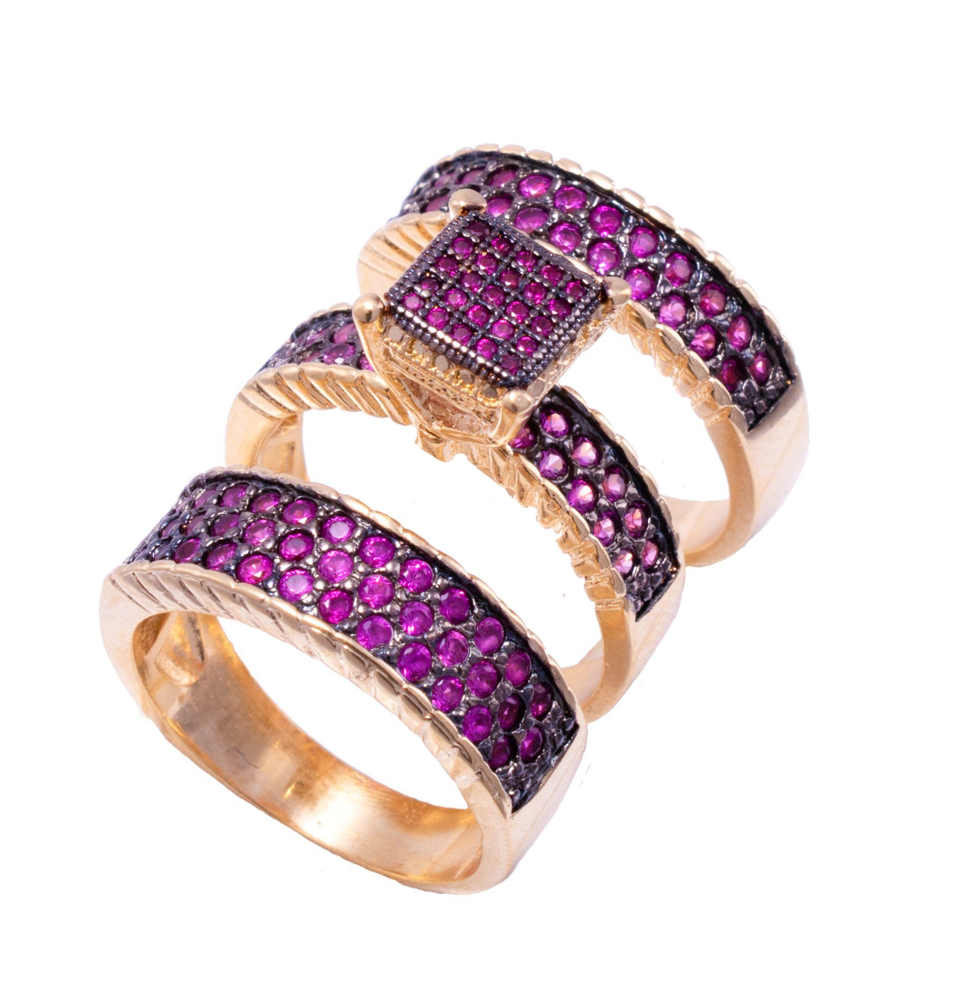Trio de Anéis Solitário e Aparador com Zircônia Rosa Folheado em Ouro 18k - Giro Semijoias
