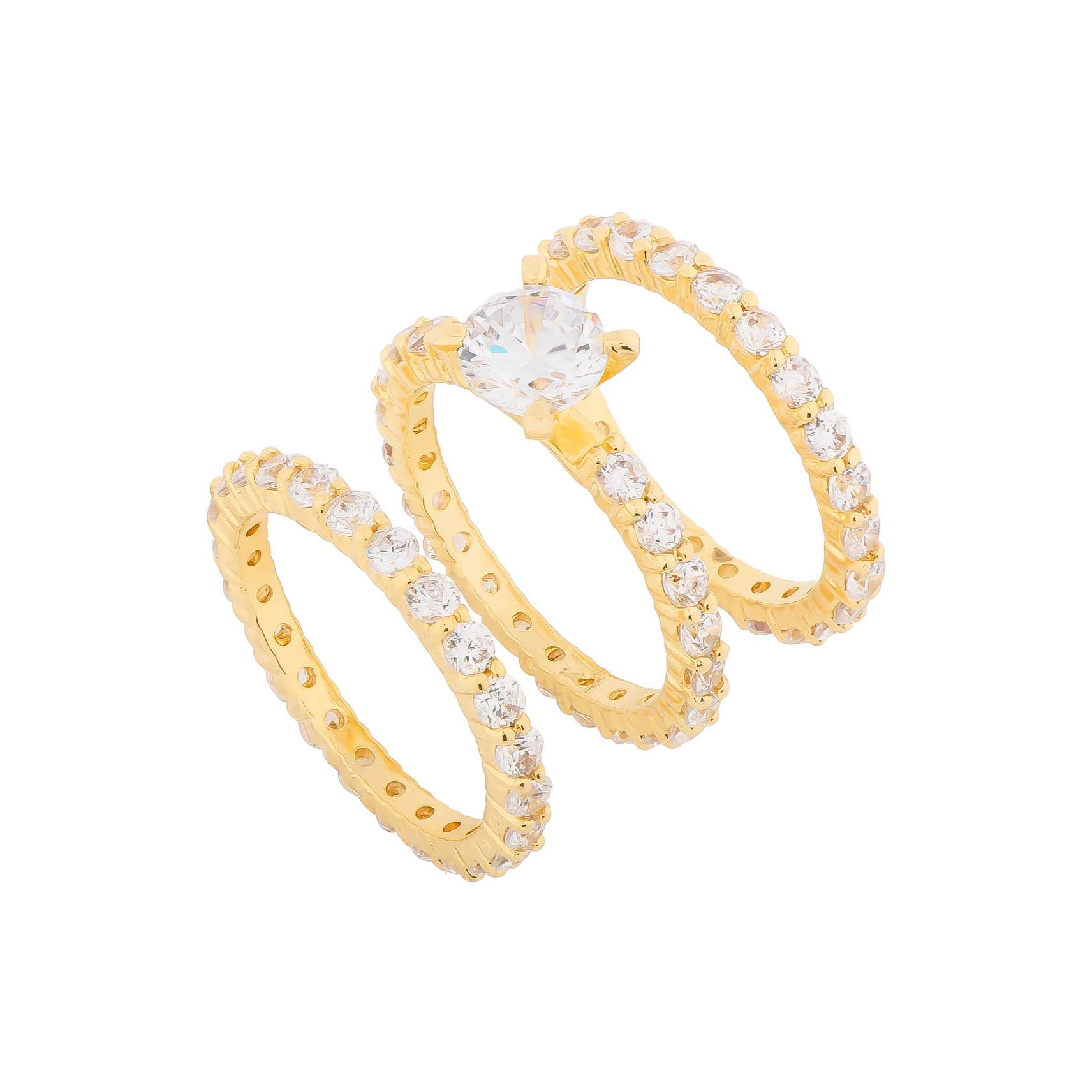 Trio de Anéis Solitário e Aparadores Cravejado em Zircônias Folheado em Ouro 18k