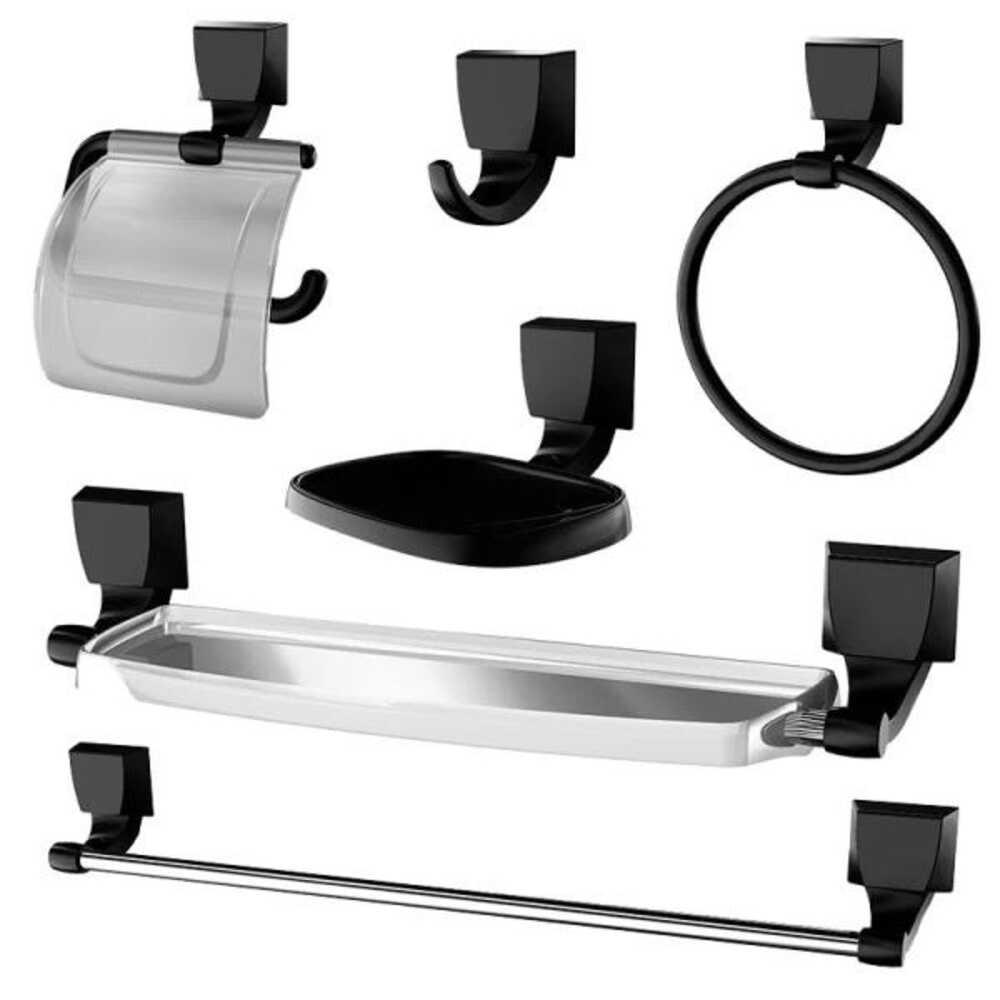 Kit Acessorios Banheiro 5 Pcs Abs Quadra Preto 2000 F24