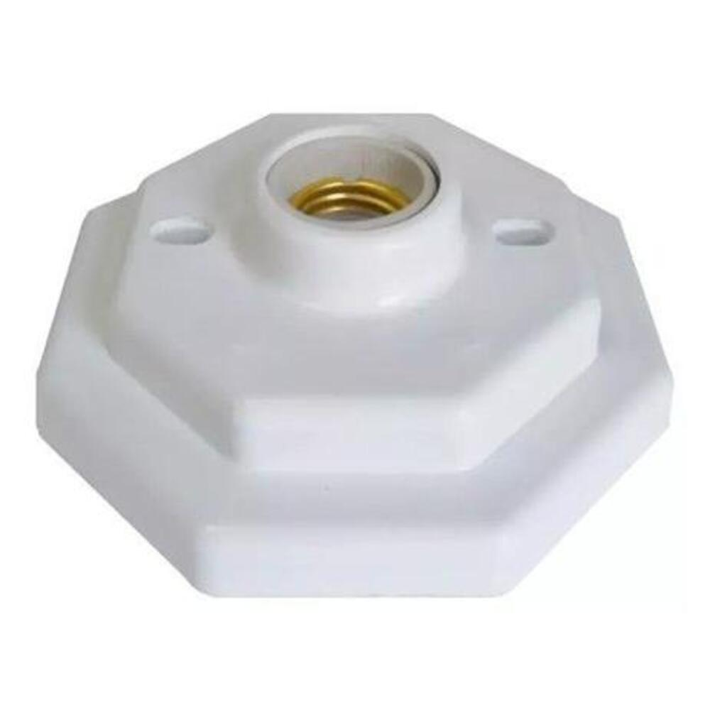 Plafon Plastico Bocal Porcelana E27 Octogonal