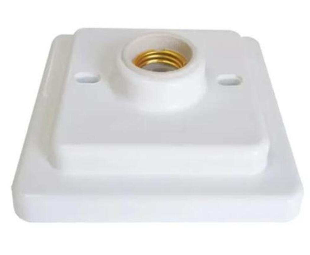 Plafon Plastico Bocal Porcelana E27 Quadrado