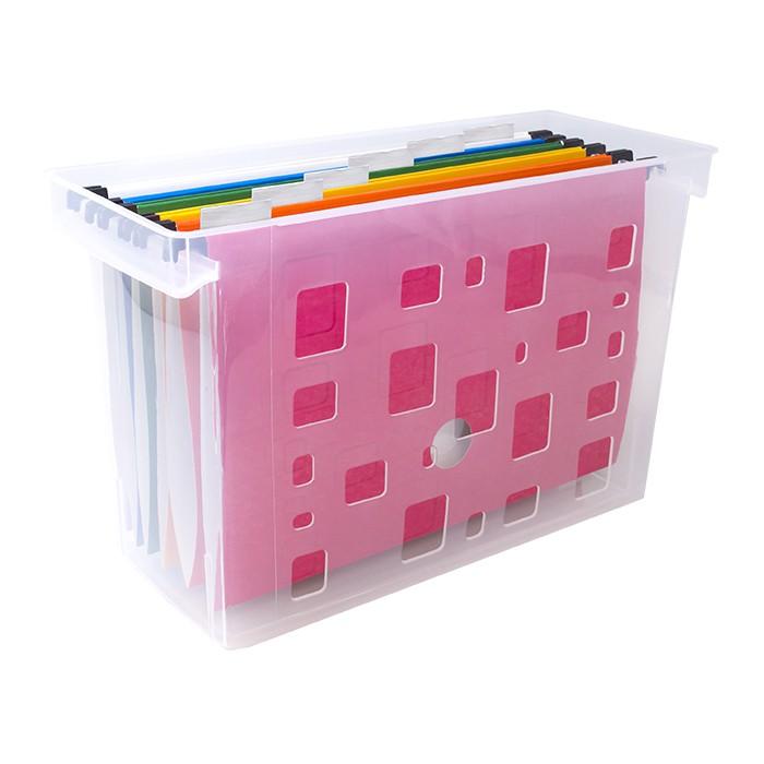 Caixa Arquivo Dello Color Cristal C/6 Pastas Susp Coloridas