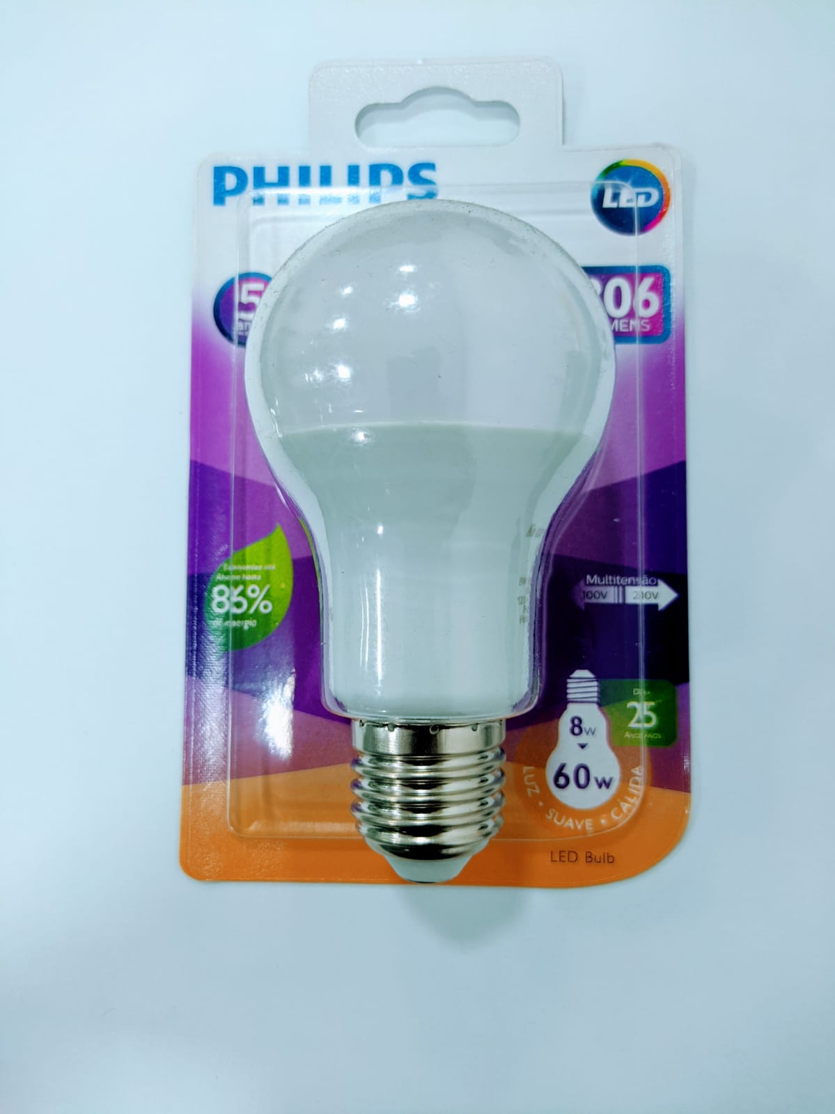 LAMPADA LED PHILIPS BULB 8W-60W 3000K 806LM DT