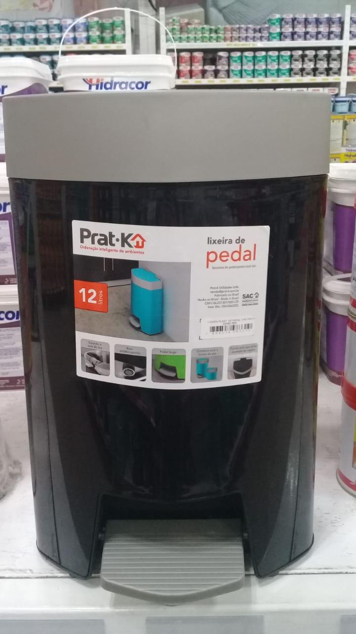 LIXEIRA PRAT-K PLASTICA PEDAL PRETA