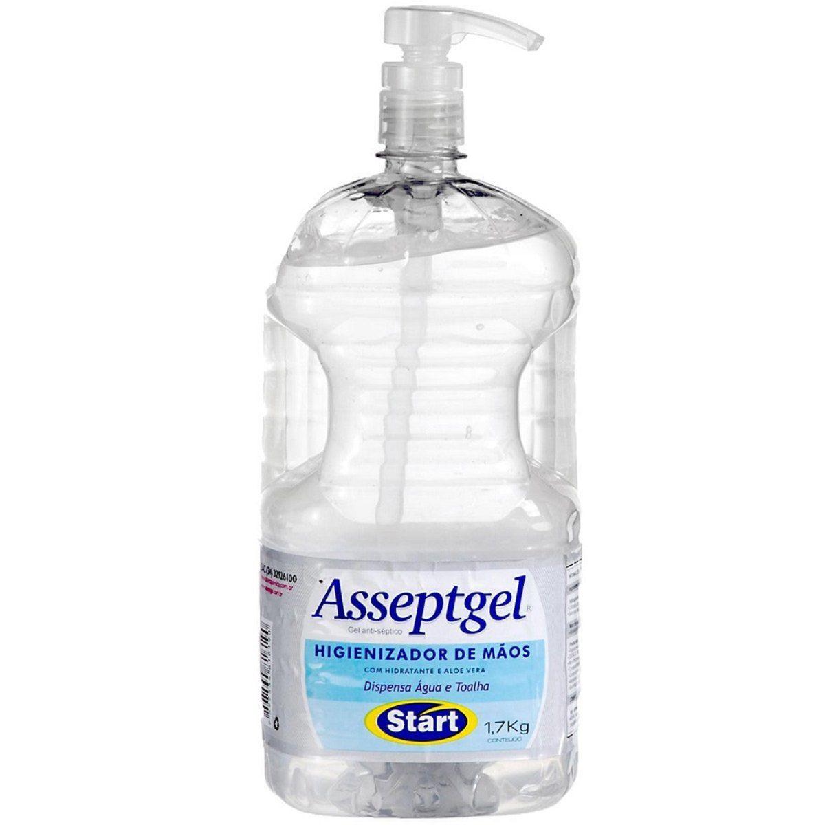 Álcool Gel 70° Higienizador 1,7kg - Start Gel Antisséptico Cristal  - Asseptgel - 6710