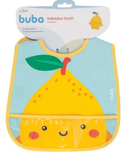 Babador Com Bolso Frutti Limão