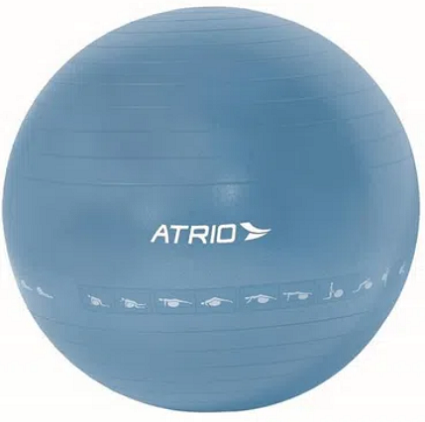 Bola De Ginástico Premium 65 Cm Diagrama De Exercícios Azul PVC Átrio