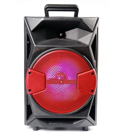 Caixa de Som Recarregável com Detalhe em Vermelho USB/SD/Auxiliar/Luz/Microfone