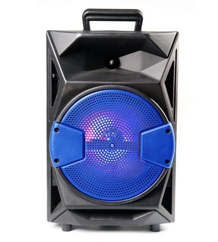 Caixa de Som Recarregável Detalhe em Azul Entrada USB/SD/Bluetooth/Luz/Microfone
