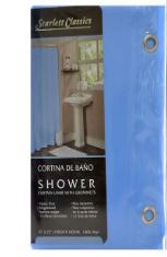 Cortina Plástica P/Banheiro Liso Azul 70x72-5794
