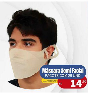 Máscara Semi Facial *Pacote com 25 Unidades* Cores Bege e Cinza    *Saúde*