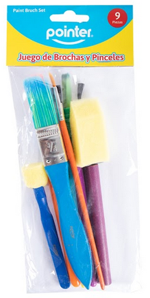 Pincel Artístico 9 Peças Colorido