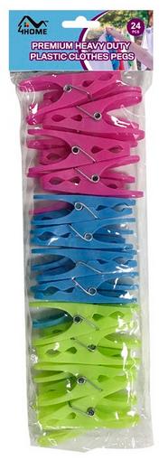 Pregador De Roupas De Plástico Com 12 Unidades Azul-Verde-Rosa - 6190