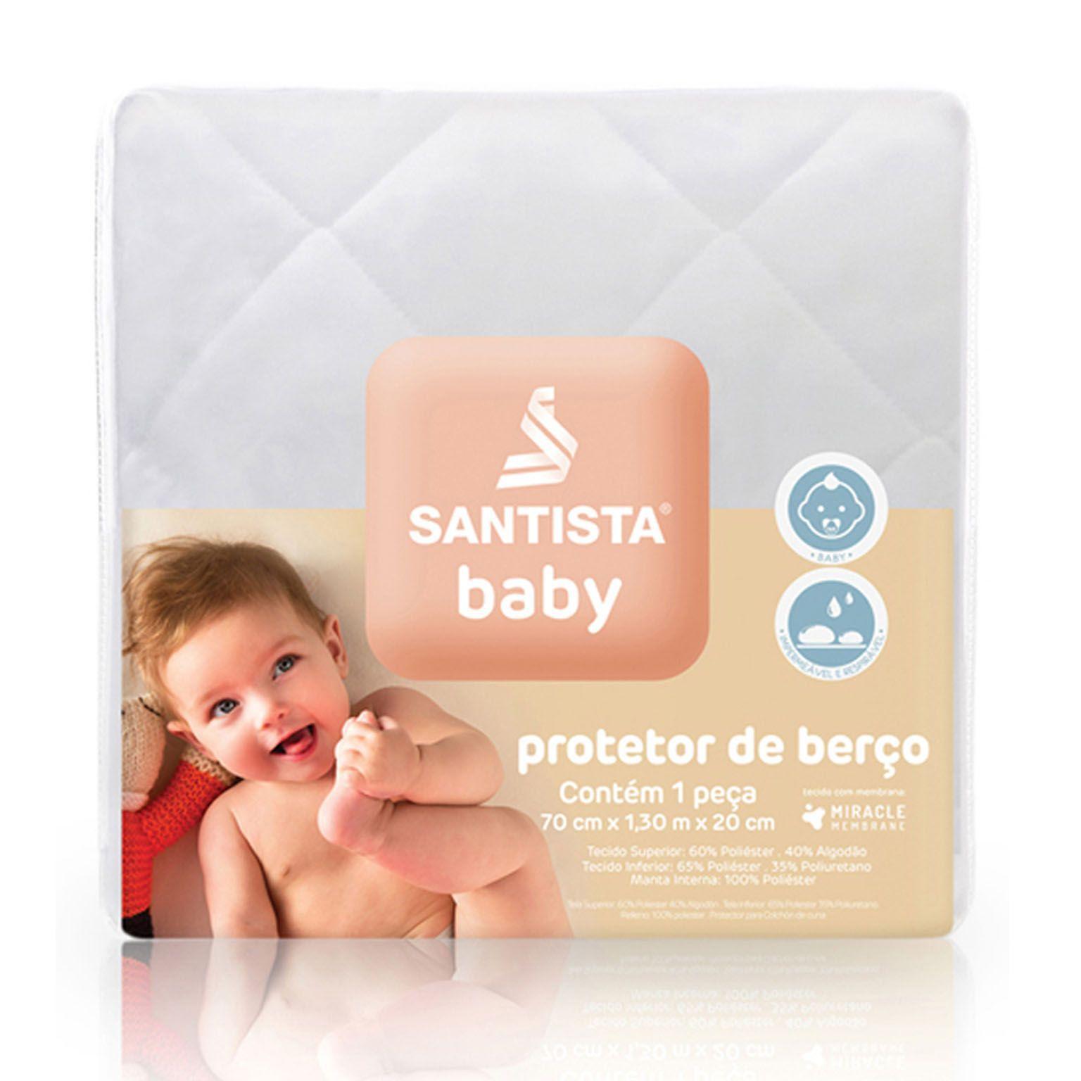 Protetor De Colchão Santista Baby Matelado 40% Algodão 60% Poliéster Impermeável Branco