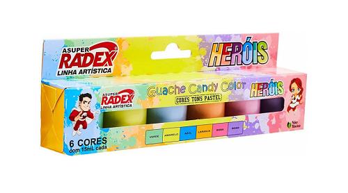 Tinta Guache 6 Cores Candy Color 15 ML  Radex - 5449