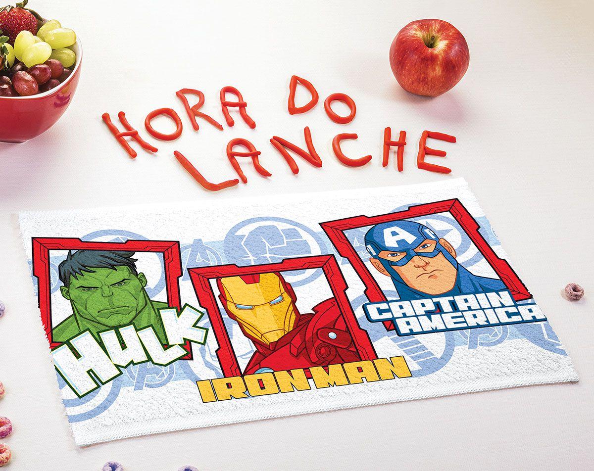 Toalha de Lancheira Infantil Estampada Avengers 24 cm x 42 cm