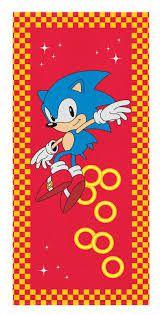 Toalha Felpuda de Banho Estampada Sonic 60 cm x 120 cm