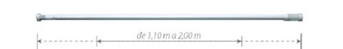Varão Multiuso Alumínio Branco 1,10m a 2,00m - 5424