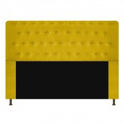 Cabeceira Estofada Brenda 195 cm King Size Com Botonê Suede Amarelo - Doce Sonho Móveis