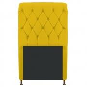 Cabeceira Estofada Cristal 100 cm Solteiro Com Capitonê Corano Amarelo - Doce Sonho Móveis