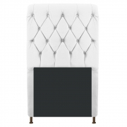 Cabeceira Estofada Cristal 100 cm Solteiro Com Capitonê Suede Branco - Doce Sonho Móveis