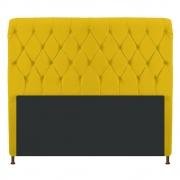 Cabeceira Estofada Cristal 140 cm Casal Com Capitonê Corano Amarelo - Doce Sonho Móveis