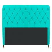Cabeceira Estofada Cristal 160 cm Queen Size Com Capitonê Corano Azul Turquesa - Doce Sonho Móveis