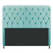 Cabeceira Estofada Cristal 160 cm Queen Size Com Capitonê Suede Azul Tiffany - Doce Sonho Móveis