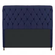 Cabeceira Estofada Cristal 195 cm King Size Com Capitonê Corano Azul Marinho - Doce Sonho Móveis