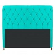 Cabeceira Estofada Cristal 195 cm King Size Com Capitonê Corano Azul Turquesa - Doce Sonho Móveis