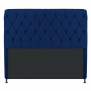 Cabeceira Estofada Cristal 195 cm King Size Com Capitonê Suede Azul Marinho - Doce Sonho Móveis