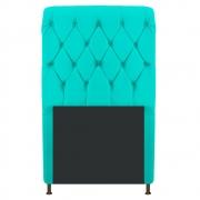 Cabeceira Estofada Cristal 90 cm Solteiro Com Capitonê Corano Azul Turquesa - Doce Sonho Móveis