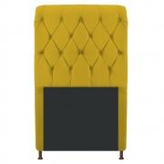 Cabeceira Estofada Cristal 90 cm Solteiro Com Capitonê  Suede Amarelo - Doce Sonho Móveis