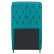 Cabeceira Estofada Cristal 90 cm Solteiro Com Capitonê  Suede Azul Turquesa - Doce Sonho Móveis