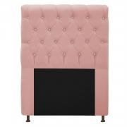 Cabeceira Estofada Cristal 90 cm Solteiro Com Strass  Suede Rosê - Doce Sonho Móveis