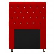 Cabeceira Estofada Cristal 90 cm Solteiro Com Strass  Suede Vermelho- Doce Sonho Móveis