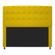 Cabeceira Estofada Dama 140 cm Casal Com Botonê  Corano Amarelo - Doce Sonho Móveis