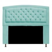 Cabeceira Estofada Geovana 140 cm Casal Com Capitonê  Suede Azul Tiffany - Doce Sonho Móveis