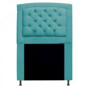Cabeceira Estofada Geovana 90 cm Solteiro Com Capitonê  Suede Azul Turquesa - Doce Sonho Móveis