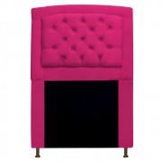 Cabeceira Estofada Geovana 90 cm Solteiro Com Capitonê  Suede Pink - Doce Sonho Móveis
