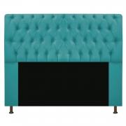 Cabeceira Estofada Lady 140 cm Casal Com Capitonê  Suede Azul Turquesa - Doce Sonho Móveis