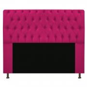 Cabeceira Estofada Lady 140 cm Casal Com Capitonê  Suede Pink - Doce Sonho Móveis