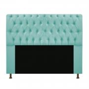 Cabeceira Estofada Lady 195 cm King Size Com Capitonê Suede Azul Tiffany - Doce Sonho Móveis