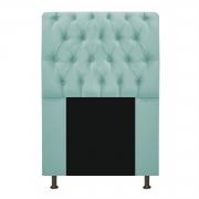 Cabeceira Estofada Lady 90 cm Solteiro Com Capitonê  Suede Azul Tiffany - Doce Sonho Móveis