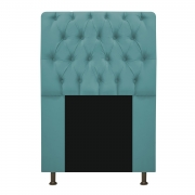 Cabeceira Estofada Lady 90 cm Solteiro Com Capitonê  Suede Azul Turquesa - Doce Sonho Móveis