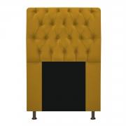 Cabeceira Estofada Lady 90 cm Solteiro Com Capitonê  Suede Mostarda - Doce Sonho Móveis