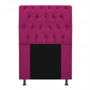 Cabeceira Estofada Lady 90 cm Solteiro Com Capitonê  Suede Pink - Doce Sonho Móveis