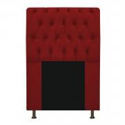 Cabeceira Estofada Lady 90 cm Solteiro Com Capitonê  Suede Vermelho - Doce Sonho Móveis