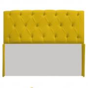 Cabeceira Estofada Lara 140 cm Casal Com Capitonê Corano Amarelo - Doce Sonho Móveis