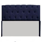 Cabeceira Estofada Lara 140 cm Casal Com Capitonê Corano Azul Marinho - Doce Sonho Móveis